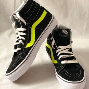 Vans SK8 HI Reissue Neon Leather Black/Neon Shoes